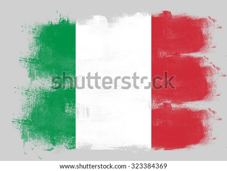 Flag of Italy painted with brush on solid background,