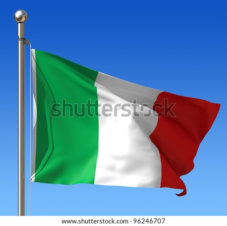 Flag of Italy waving in the wind against blue sky. Three dimensional rendering illustration.