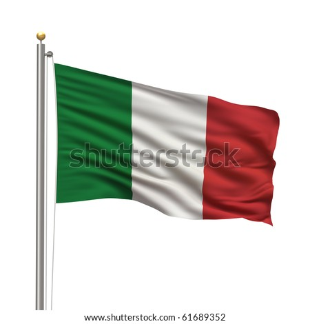 Flag of Italy with flag pole waving in the wind over white background