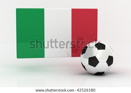 Flag of Italy with soccer ball - stock photo