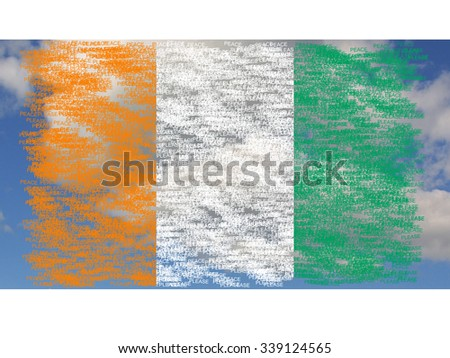 Flag of Ivory Coast painted on words peace please, on background with clouds