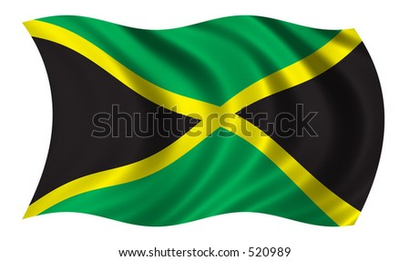 Flag of Jamaica - CLIPPING PATH INCLUDED - stock photo