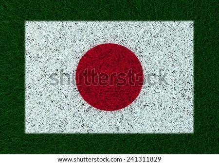 flag of Japan grass texture - stock photo