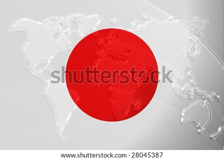 Flag of Japan, national country symbol illustration with world map, metallic embossed look
