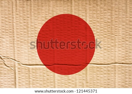 flag of japan - old and worn paper style - stock photo