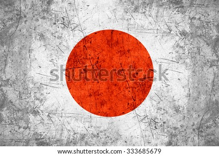 flag of Japan or Japanese banner on rough pattern metal background