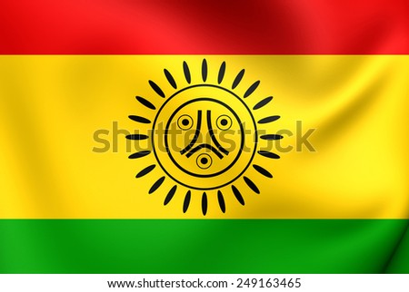 Flag of Jatibonicu Taino Tribal Nation of Boriken, Puerto Rico. Close Up. - stock photo