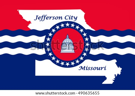 Flag of Jefferson City is the capital of Missouri statei, United States