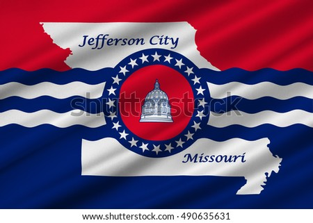 Flag of Jefferson City is the capital of Missouri statei, United States. 3D illustration
