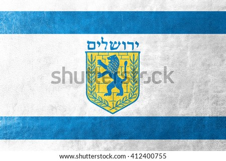 Flag of Jerusalem, painted on leather texture - stock photo