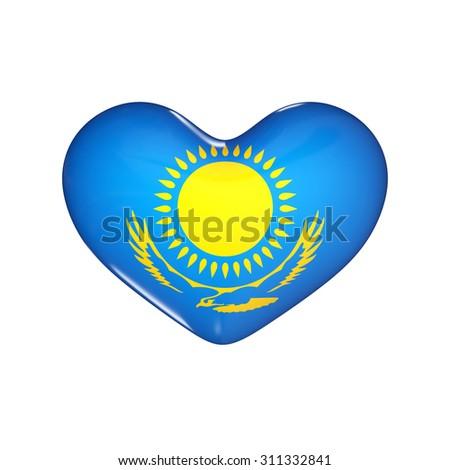 flag of Kazakhstan on the heart. 3d render illustration - stock photo