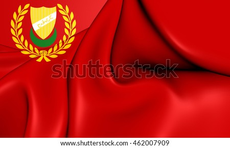 Flag of Kedah State, Malaysia. 3D Illustration.