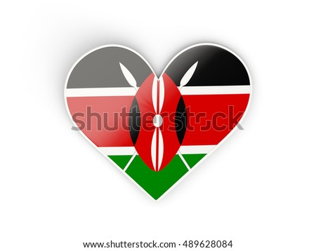 Flag of kenya heart shaped sticker isolated on white 3d illustration