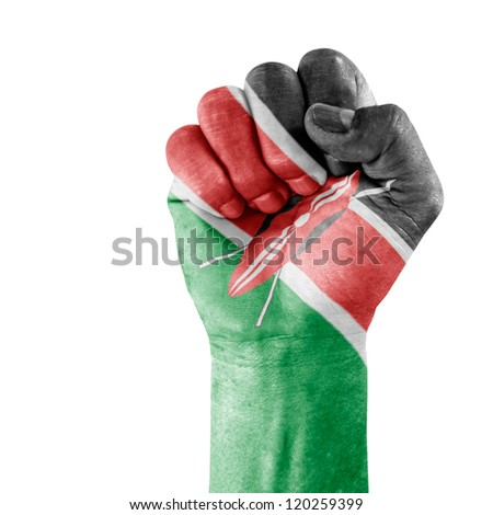Flag Of Kenya on hand with clenched fist gesture over white background.