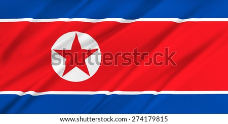 Flag of Korea North waving in the wind