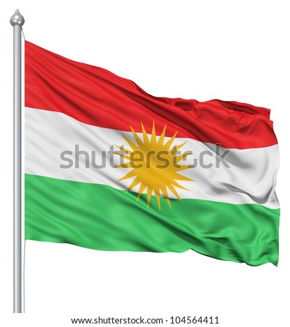 Flag of Kurdistan with flagpole waving in the wind against white background - stock photo