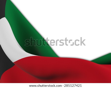 Flag of Kuwait ,close up  with  sinuous motion wave on white background - stock photo