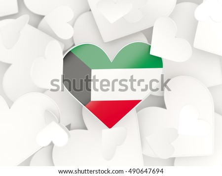 Flag of kuwait heart shaped stickers background 3d illustration