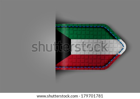 Flag of Kuwait in the form of a glossy textured label or bookmark.  - stock photo
