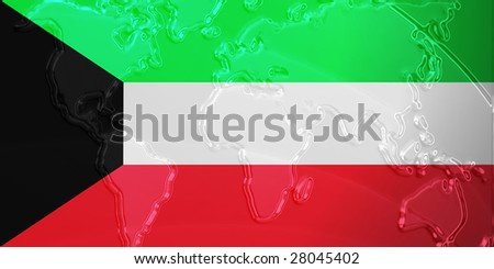 Flag of Kuwait, national country symbol illustration with world map, metallic embossed look - stock photo