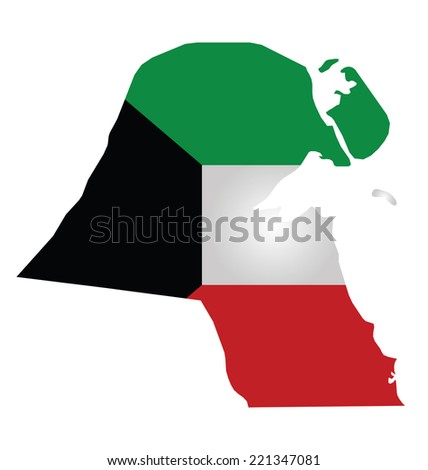 Flag of Kuwait overlaid on outline map isolated on white background  - stock photo