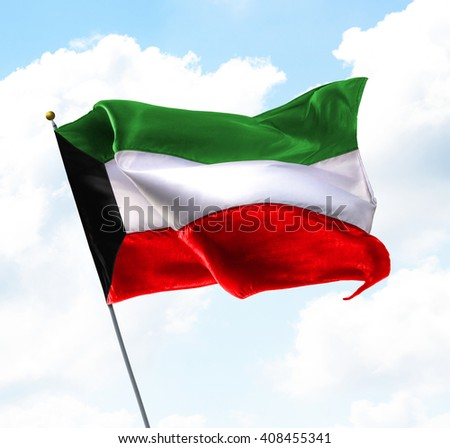 Flag of Kuwait Raised Up in The Sky - stock photo