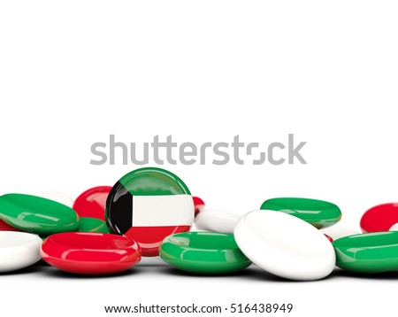 Flag of kuwait, round buttons isolated on white. 3D illustration