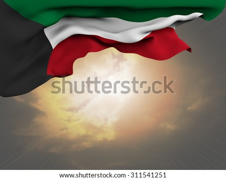 Flag of Kuwait waving and fluttering on spectacular sun beaming through the clouds background - stock photo
