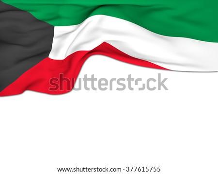 Flag of Kuwait , waving on white background - stock photo