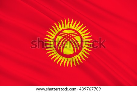 Flag of Kyrgyzstan officially the Kyrgyz Republic formerly known as Kirghizia, is a landlocked country located in Central Asia. 3d illustration - stock photo