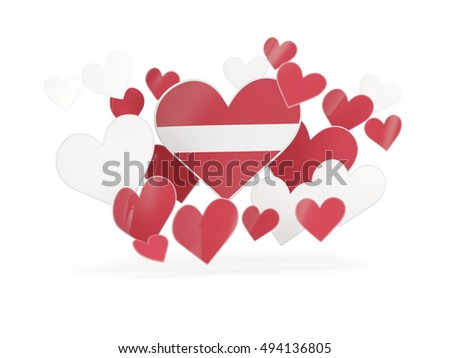 Flag of latvia, heart shaped stickers on white. 3D illustration
