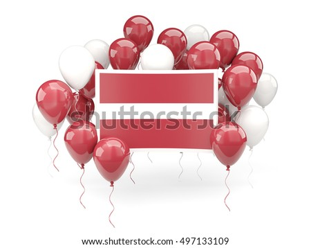 Flag of latvia, with balloons isolated on white. 3D illustration