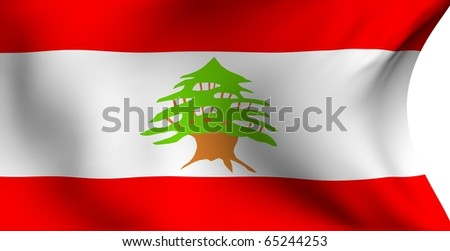 Flag of Lebanon against white background. Close up. - stock photo