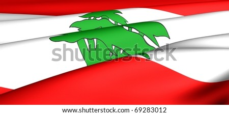 Flag of Lebanon. Close up. - stock photo