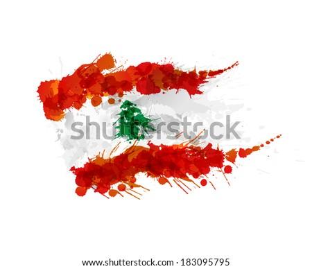 Flag of Lebanon made of colorful splashes - stock photo