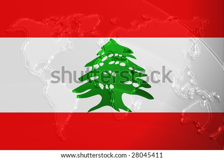 Flag of Lebanon, national country symbol illustration with world map, metallic embossed look