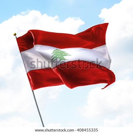 Flag of Lebanon Raised Up in The Sky - stock photo