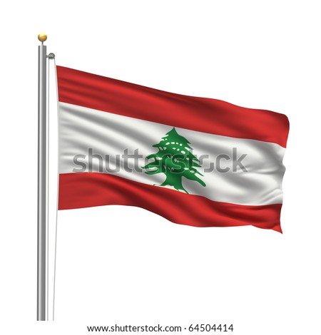 Flag of Lebanon with flag pole waving in the wind over white background - stock photo