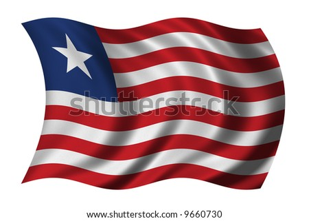 Flag of Liberia waving in the wind
