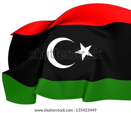 Flag of Libya. Close Up. - stock photo