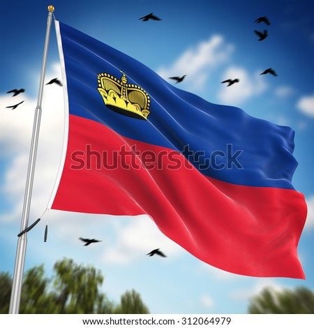 Flag of Liechtenstein , This is a computer generated and 3d rendered image.