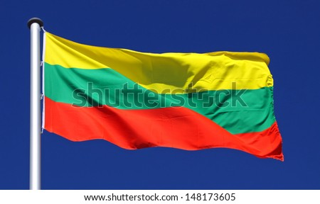 Flag of Lithuania in the sun - stock photo
