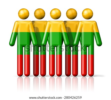 Flag of Lithuania on stick figure - national and social community symbol 3D icon - stock photo