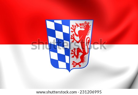 Flag of Lower Bavaria, Germany. Close Up.    - stock photo