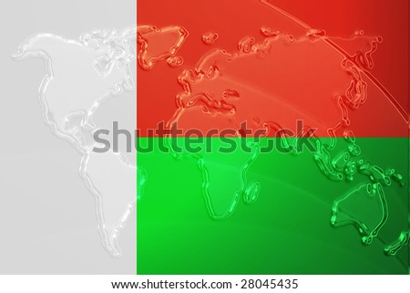 Flag of Madagascar, national country symbol illustration with world map, metallic embossed look