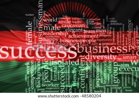 Flag of Malawi, national country symbol illustration wavy business success concept