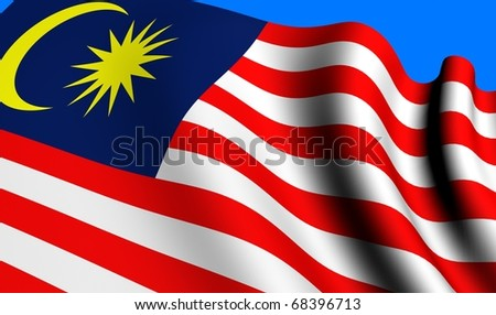 Flag of Malaysia against blue background. Close up. - stock photo