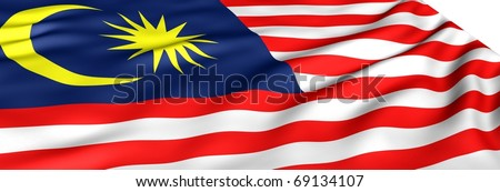 Flag of Malaysia against white background. Close up. - stock photo