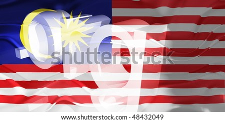 Flag of Malaysia, national country symbol illustration wavy org organization website - stock photo