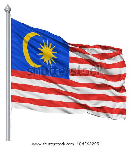 Flag of Malaysia with flagpole waving in the wind against white background